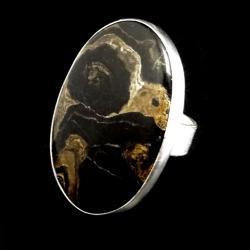 stromatolit,skamieniały,srebro,brązowy,srebrny, - Pierścionki - Biżuteria