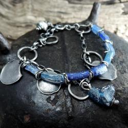 Srebrna bransoletka ze szkłem afgańskim - Bransoletki - Biżuteria