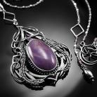 Naszyjniki srebrny,naszyjnik,wire-wrapping,fioletowy,jadeit