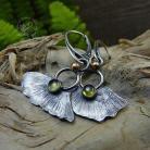 Kolczyki srebrne,organiczne,natura,miłorząb,peridot