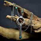 Naszyjniki długi srebrny naszjnik,wisior z turkusem