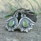 Kolczyki kolczyki z zielonym kamieniem,oliwin surowy