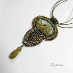kolory ziemi,jaspis,wisior - Wisiory - Biżuteria