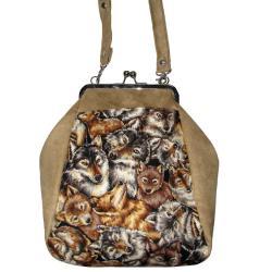 bigiel,metalowa ramka,torebka z zapięciem,wilki - Na ramię - Torebki