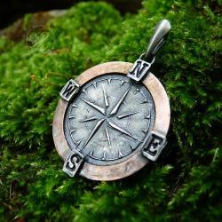 kompas,róża wiatrów,talizman,amulet - Wisiory - Biżuteria