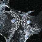 Kolczyki kamień ksieżycowy,srebrne księżyc,elficki,elfi
