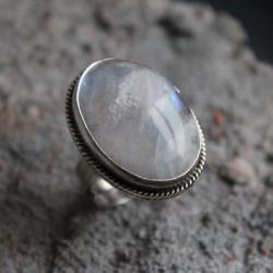 pierścionek srebro księżycowy retro vintage - Pierścionki - Biżuteria