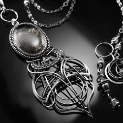 srebrny,naszyjnik,wire-wrapping,kwarc,turmalin - Naszyjniki - Biżuteria
