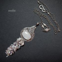biały,mieniący się,romantyczny,kobiecy - Naszyjniki - Biżuteria