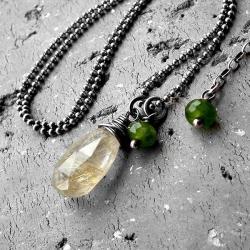 srebro oksydowane,nowoczesny,wiosenny,z kamieniami - Naszyjniki - Biżuteria