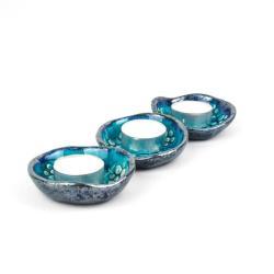 ceramika,świeczniki,tea light,turkusowe - Świeczniki - Wyposażenie wnętrz