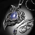 Naszyjniki srebrny,naszyjnik,kamień księżycowy,wire-wrapping
