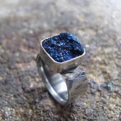 srebro,pierścień,agat,druza - Pierścionki - Biżuteria