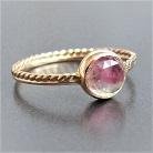 Pierścionki złoty pierścionek z turmalinem arbuzowym