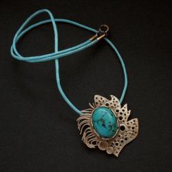 wisior z turkusem,turkus,biżuteria artystyczna, - Wisiory - Biżuteria