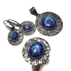 szafir,gwiazda,blask,asteryzm,romantyczny,srebro - Komplety - Biżuteria
