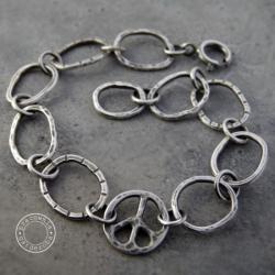 srebro,pacyfka,kuta,łańcuch,surowa, - Bransoletki - Biżuteria