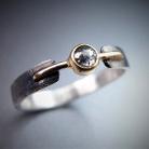 Pierścionki srebrno-złoty pierścionek z diamentem,salt pepper