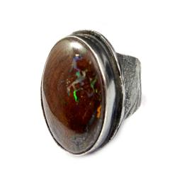 opal,boulder,srebrny,okazały,minerał,srebro,retro - Pierścionki - Biżuteria