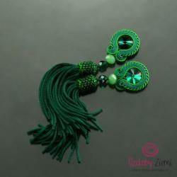 zielone kolczyki,zielone chwosty,długie zielone - Kolczyki - Biżuteria