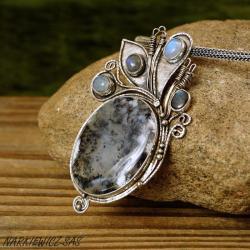 wisior z agatem dendrytowym - Wisiory - Biżuteria