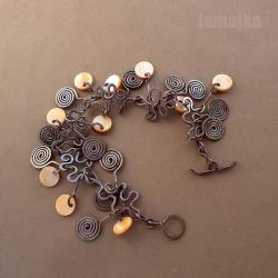 miedź,oksyda,masa perłowa - Bransoletki - Biżuteria