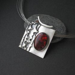 naszyjnik ze srebra,rubin,biżuteria artystyczna - Naszyjniki - Biżuteria