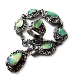 opal,,tęcza,blask,srebrny,komplet,kobalt,retro - Komplety - Biżuteria