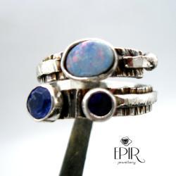 Obrączka Srebrna Trzy Odcienie Fioletu - Pierścionki - Biżuteria