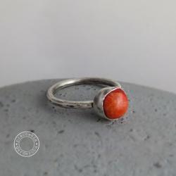 srebro,koral,boho,oksydowany,surowy,minimalizm - Pierścionki - Biżuteria