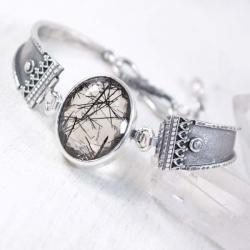 Srebrna bransoletka z kwarcem turmalinowym - Bransoletki - Biżuteria