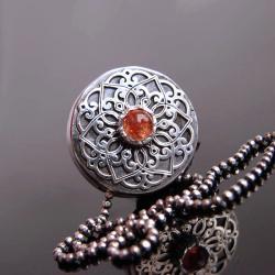 kamień słoneczny,mini,naszyjnik,srebro - Naszyjniki - Biżuteria
