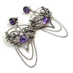 kolczyki,wire-wrapping,ametyst,ekskluzywne - Kolczyki - Biżuteria