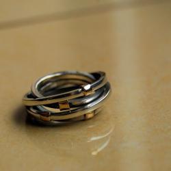 oryginalny,okazały,ze złotem,ręcznia robiony - Pierścionki - Biżuteria