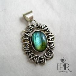 Wisior srebrny z labradorytem - Wisiory - Biżuteria