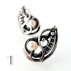 srebrne kolczyki,sztyfty,wkrętki,perła,kobiece - Kolczyki - Biżuteria