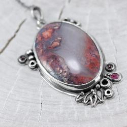 naszyjnik z agatem,agat mszysty,czerwony - Naszyjniki - Biżuteria