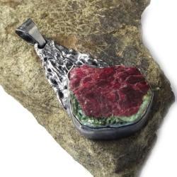 zoisyt,srebrny,srebro,blask,zieleń,szarości,rubin - Wisiory - Biżuteria