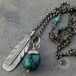 srebro,boho,turkus,hippie,pióro,oksydowany - Naszyjniki - Biżuteria