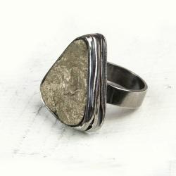 pierścionek,srebrny,zpirytem,prezent,surowy,oksyda - Albumy - Akcesoria