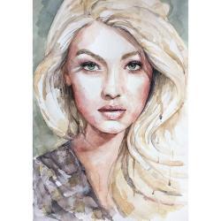 akwarela,obraz,oryginał,portret,wnętrze,kobieta - Ilustracje, rysunki, fotografia - Wyposażenie wnętrz