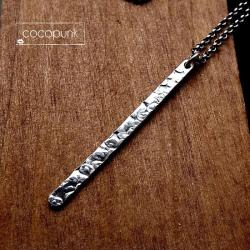 minimalistyczny,nowoczesny,matowy,surowy,srebrny - Naszyjniki - Biżuteria
