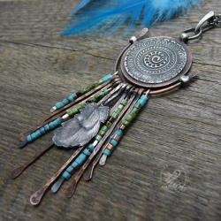 miedziany,srebrny,etniczny,dreamcatcher,mandala - Wisiory - Biżuteria