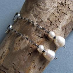 kolczyki,srebro,perły hodowlane,hematyt - Kolczyki - Biżuteria