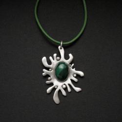 wisior z malachitem,biżuteria artystyczna,srebro - Wisiory - Biżuteria