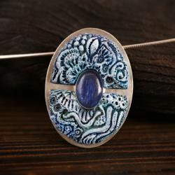 wisiorek z kianitem,srebrny wisiorek niebieski - Wisiory - Biżuteria