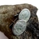 Dla mężczyzn srebrne,spinki,szarości,srebro,moneta,męski,unisex