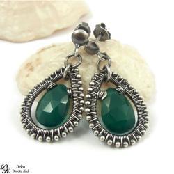 kolczyki,zielone,koronki,srebro,eleganckie - Kolczyki - Biżuteria