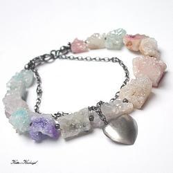 pastelowa,kamienie,minerały - Bransoletki - Biżuteria