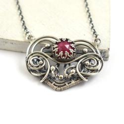 naszyjnik,serce,wire-wrapping,rubin,misterny - Naszyjniki - Biżuteria